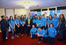 Sail Training Ambassadors in blue uniform pose with Sunderland's Mayor