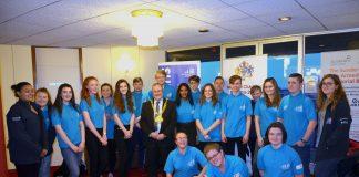 Sail Training Ambassadors in blue uniform pose with Sunderland's Mayor